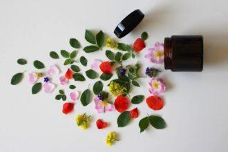 Z krabičky od kozmetiky sa akoby vyliali bylinky a kvety